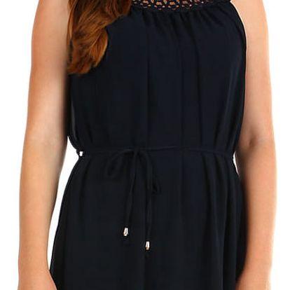 Dámské letní plážové šaty s krajkovým výstřihem tmavě modrá