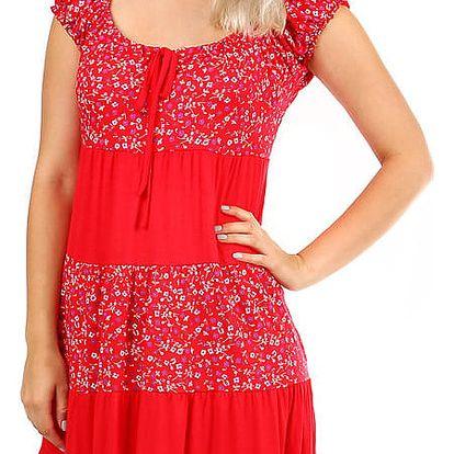 Dámské plážové květované šaty s krátkým rukávem červená