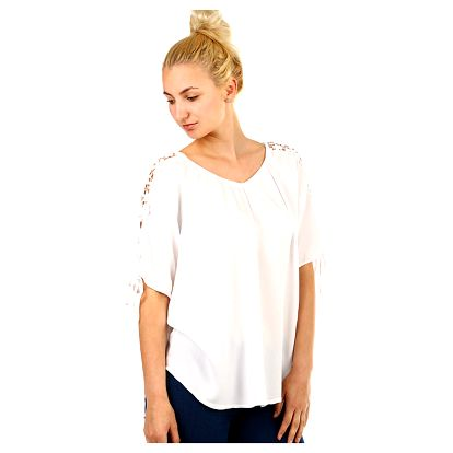 Volná dámská halenka s ozdobnými rukávy bílá