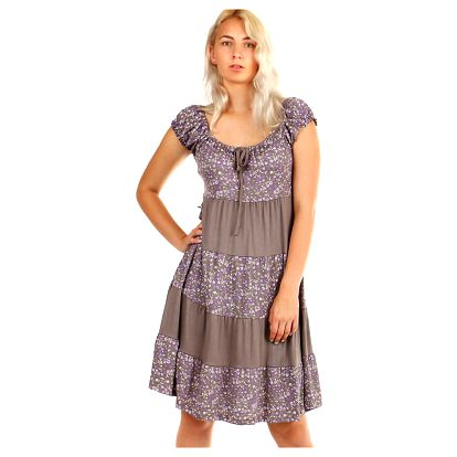 Dámské plážové květované šaty s krátkým rukávem hnědá