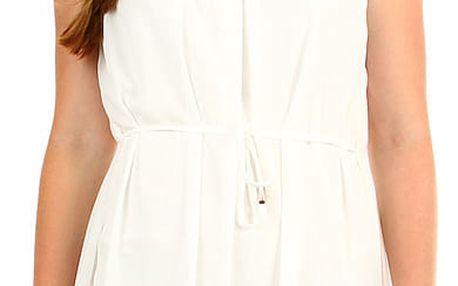 Dámské letní plážové šaty s krajkovým výstřihem bílá