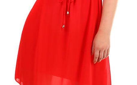 Dámské letní plážové šaty s krajkovým výstřihem červená