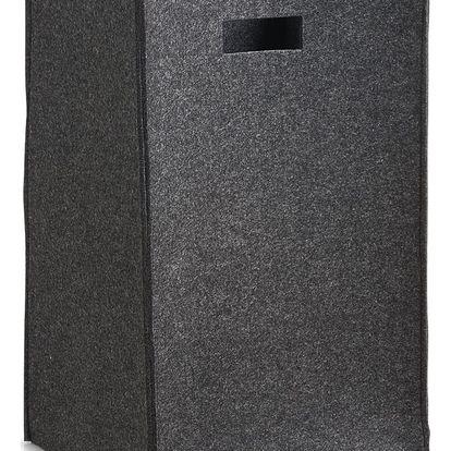 Plstěný koš na prádlo - černá barva, 35 x 30 x 55 cm, ZELLER