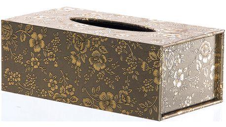 Krabička na papírové kapesníky White & Gold Roses