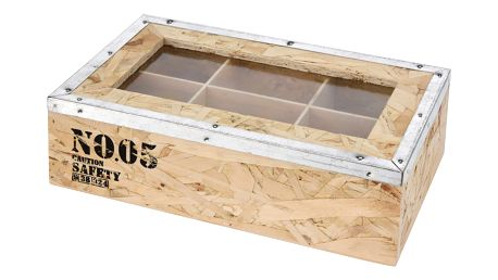 Emako Dřevěný box na čaj TEA, 6 přihrádek - přírodní dřevo