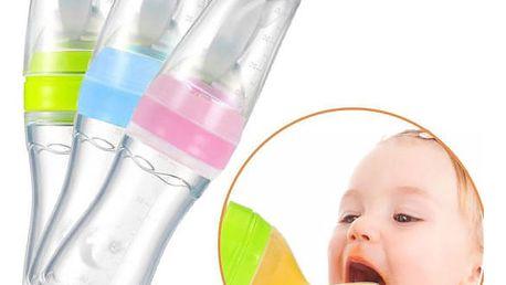 Dětská silikonová láhev se lžičkou 2v1