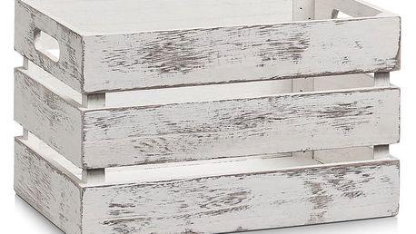 Ukládací box VINTAGE, dřevěný, bílá barva, 31x21x19 cm, ZELLER