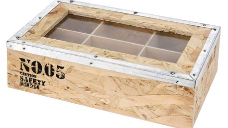 Dřevěný box na čaj TEA, 6 přihrádek - přírodní dřevo Emako