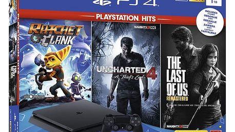 Herní konzole Sony PlayStation 4 SLIM 1TB + The Last Of Us +Uncharted 4 + Ratchet & Clank černý (PS719719519)