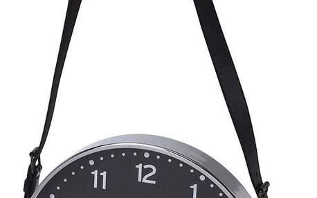 Nástěnné hodiny, klasické s koženým páskem Ø 30 cm Home Styling Collection