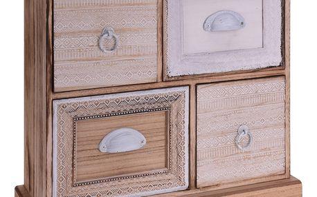 Home Styling Collection Dřevěná skříňka se zásuvkami na drobnosti, se 4 zásuvkami