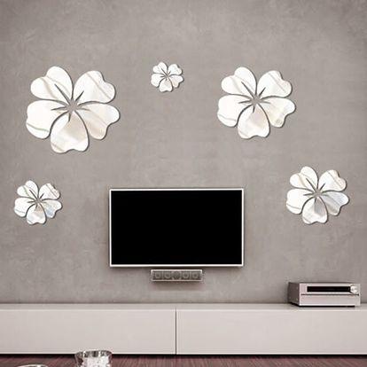 Samolepka na zeď - zrcadlové květiny