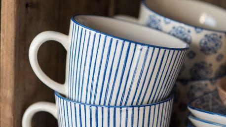 IB LAURSEN Hrnek Casablanca blue stripe, modrá barva, keramika 300 ml