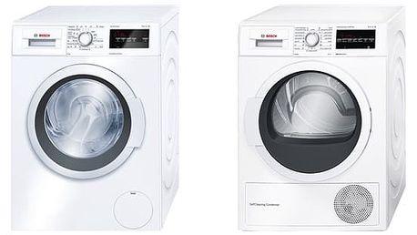 Set (Sušička prádla Bosch WTW87467CS) + (Automatická pračka Bosch WAT24360BY) + DOPRAVA ZDARMA