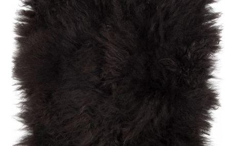 IB LAURSEN Sedák z jehněčí kožešiny 40x40, černá barva, kůže