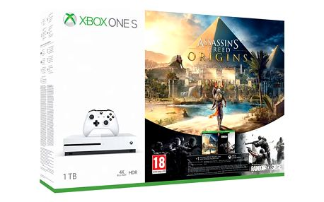 Herní konzole Microsoft Xbox One S 1 TB + Assassin's Creed: Origins + Rainbow Six: Siege; 14 denní Xbox LIVE GOLD (234-00235)