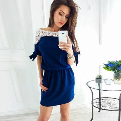 Dámské šaty s krajkovou aplikací - 3 barvy