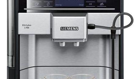Espresso Siemens EQ.6 TE657313RW nerez + dárek Káva zrnková Simon Lévelt BIO Uganda 250 g v hodnotě 159 Kč + DOPRAVA ZDARMA