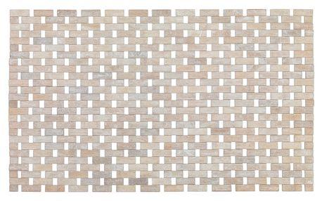 Světlá koupelnová podložka z bambusu Wenko Edna, 50x80 cm