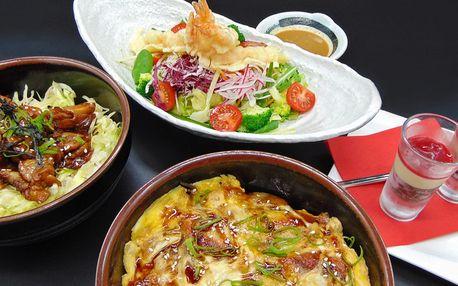 Tříchodové japonské menu s úhořem a krevetami