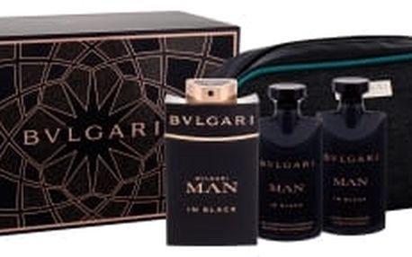 Bvlgari Man In Black dárková kazeta pro muže parfémovaná voda 100 ml + balzám po holení 75 ml + sprchový gel 75 ml + kosmetická taška