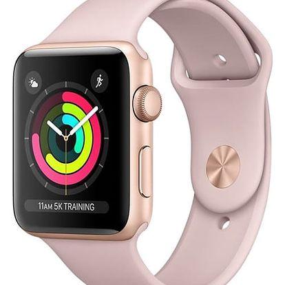 Chytré hodinky Apple Watch Series 3 GPS 38mm pouzdro ze zlatého hliníku - pískově růžový sportovnm řemínek (MQKW2CN/A) + DOPRAVA ZDARMA
