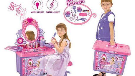 G21 24464 Dětský kosmetický stolek se zrcadlem a zvuky v kufru