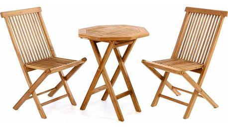 Divero Gardenay 339 Luxusní balkonový set z týkového dřeva, 1 stůl + 2 skládací židle