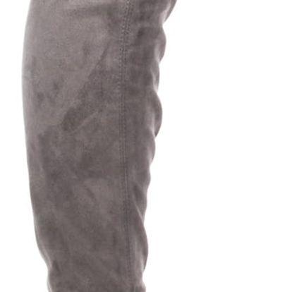 Modern World Mušketýrky dámské kozačky nad kolena semišové