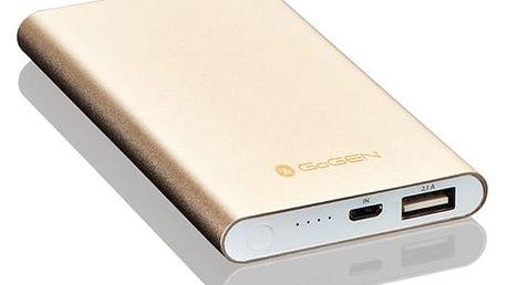 Powerbank GoGEN 5000mAh, slim hliník/zlatá (GOGPB50001M)