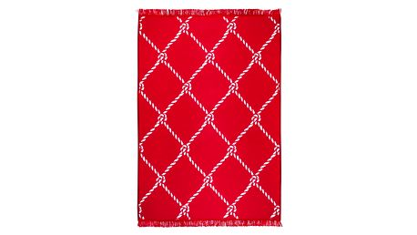 Červenobílý oboustranný koberec Homedebleu Rope, 120 x 180 cm