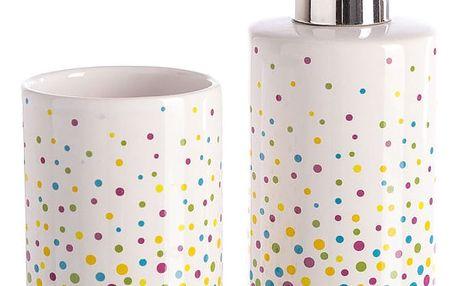 Set dávkovače na mýdlo a kelímku na zubní kartáčky Unimasa Dots