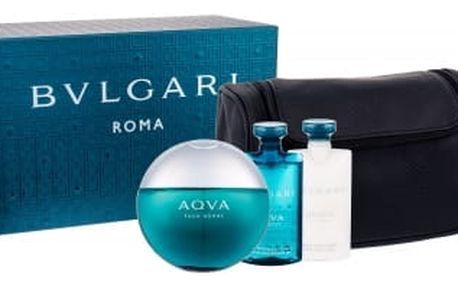 Bvlgari Aqva Pour Homme dárková kazeta pro muže toaletní voda 100 ml + sprchový gel 75 ml + balzám po holení 75 ml + kosmetická taška