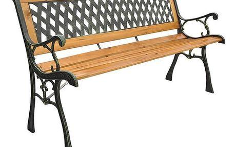 Zahradní lavička dřevěná s kovovým dekorem