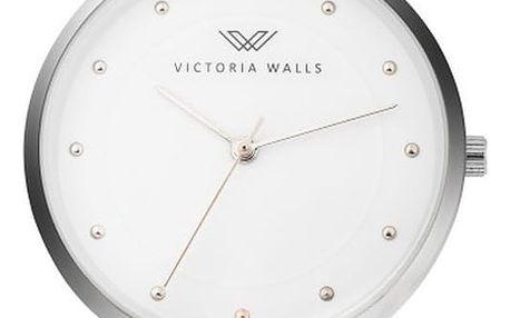 Dámské hodinky s červeným koženým řemínkem Victoria Walls Mist