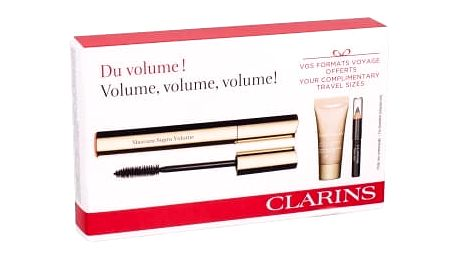 Clarins Mascara Supra Volume dárková kazeta pro ženy řasenka 8 ml + korektor Instant Concealer 5 ml 02 Medium + tužka na oči Crayon Khol 0,39 g 01 Carbon Black 01 Intense Black
