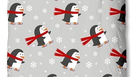 Dětské bavlněné povlečení na jednolůžko Muller Textiels Pinguins, 140 x 200 cm