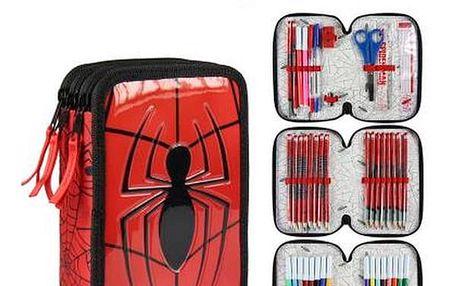 Trojité pouzdro na pera Spiderman 8492 Červený