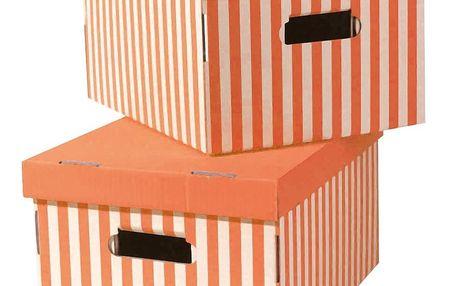 Sada 2 oranžových úložných krabic Compactor Stripes