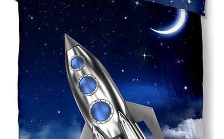 Dětské povlečení na jednolůžko z čisté bavlny Good Morning Rocket, 140x200cm