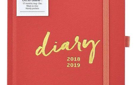 Busy B Diář Coral na 17 měsíců 2018/2019, červená barva, papír