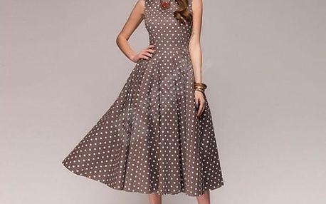 Vintage dámské šaty s puntíky - Kávová-L - dodání do 2 dnů