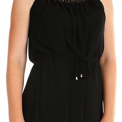 Dámské letní plážové šaty s krajkovým výstřihem černá