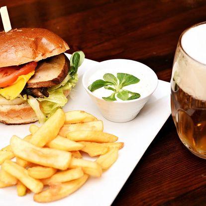 Burgerové menu: hovězí i vegetariánský burger
