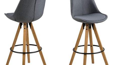 Sada 2 tmavě šedých barových židlí Actona Dima