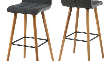 Sada 2 tmavě šedých barových židlí Actona Frida