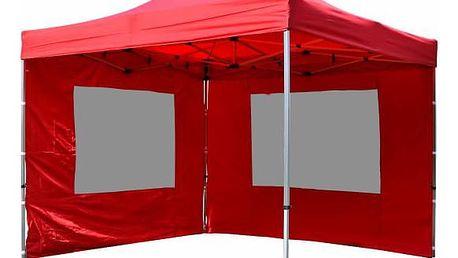 Garthen PROFI 9481 Zahradní párty stan nůžkový 3x3 m červený + 2 boční stěny
