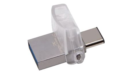 USB Flash Kingston DataTraveler MicroDuo 3C 128GB OTG USB-C/USB 3.1 stříbrný (DTDUO3C/128GB)