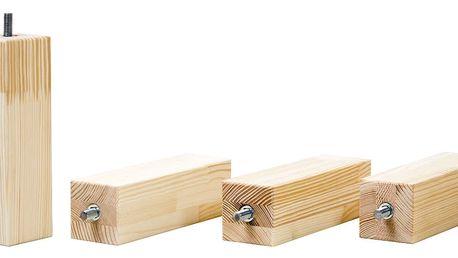 Sada 4 prodloužených nohou z přírodního borovicového dřeva k posteli Benlemi,výška20cm