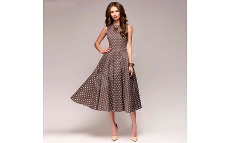 Vintage dámské šaty s puntíky - Kávová-M - dodání do 2 dnů